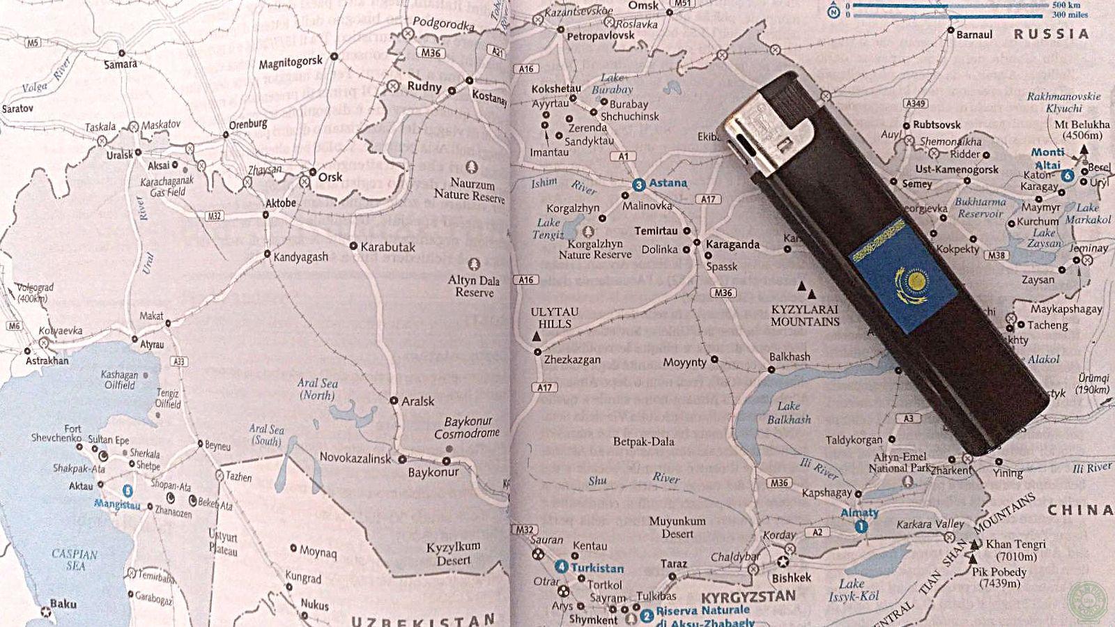 accendino - itinerario in Kazakistan